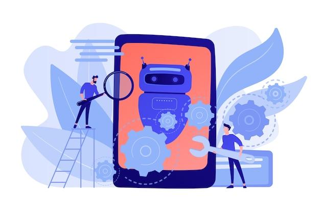 レンチを使用する開発者は、チャットボットアプリケーションの開発に取り組んでいます。チャットボットアプリ開発、ボット開発フレームワーク、チャットボットプログラミングコンセプト