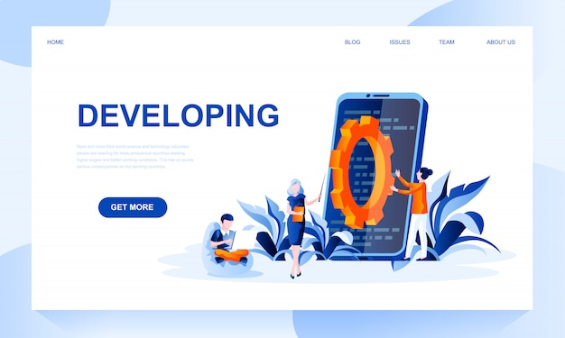 Developing landing page template with header