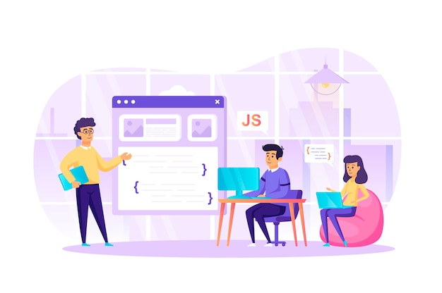 Developing programming software at office flat design concept Premium Vector