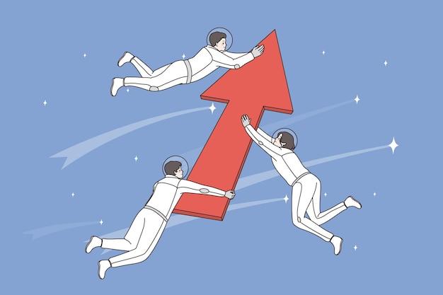 개발 및 공간 개념 탐색. 개발 및 성공 벡터 일러스트레이션을 의미하는 거대한 빨간색 화살표를 들고 있는 긍정적인 남자 우주 비행사 우주 비행사 그룹