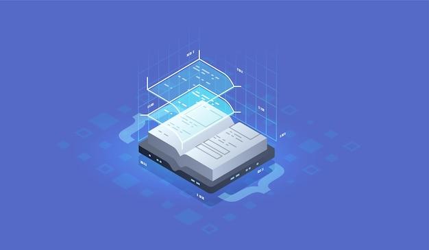 개발 및 소프트웨어. 프로그래밍, 데이터 처리의 개념입니다. 소스 코드 아이콘입니다. 디지털 독서, e-교실 교과서를 위한 아이소메트릭 개념.