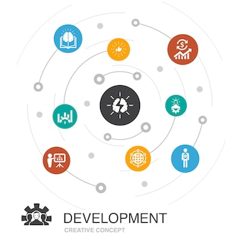 Development colored circle concept with simple icons. contains such elements as global solution, knowledge, investor, brainstorming