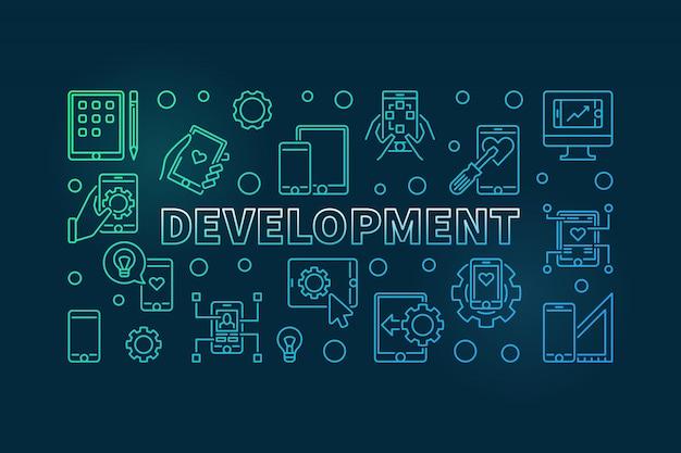 Development colorful outline horizontal icon illustration