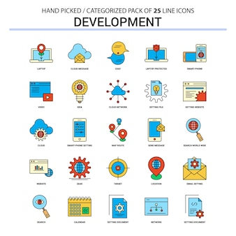 Development flat line icon set