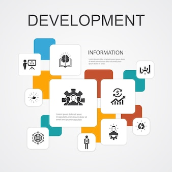 Development infographic 10 line icons template. global solution, knowledge, investor, brainstorming simple icons