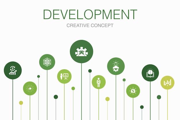 開発インフォグラフィック10ステップテンプレート。グローバルソリューション、知識、投資家、シンプルなアイコンのブレーンストーミング