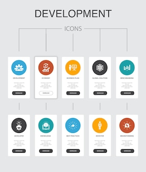 Development infographic 10 steps ui design. global solution, knowledge, investor, brainstorming simple icons