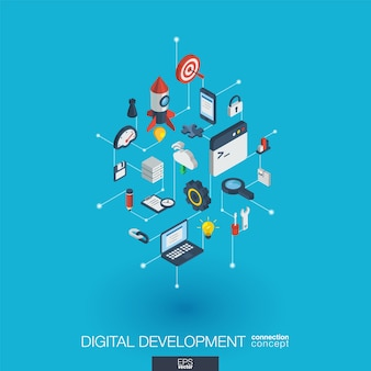 개발 통합 웹 아이콘. 디지털 네트워크 아이소 메트릭 상호 작용 개념. 연결된 그래픽 도트 및 라인 시스템. 프로그래밍, 코딩, 응용 프로그램에 대한 추상적 인 배경. 인포 그래프