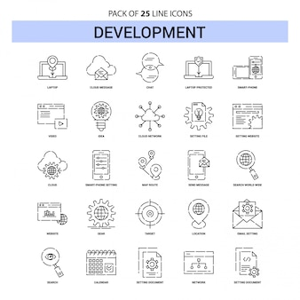 Development line icon set - 25 dashed outline style