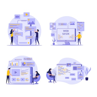 Development and marketing flat illustration set