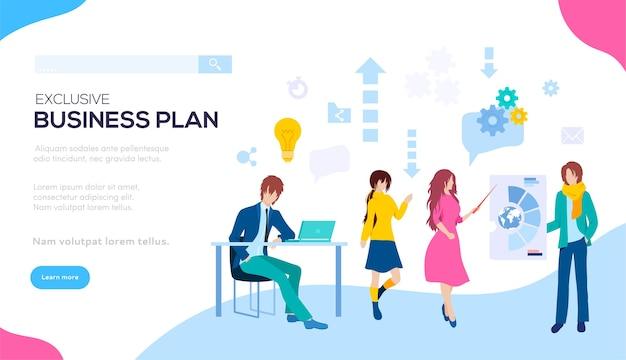 事業計画設計の開発。事業計画の作成に取り組んでいる従業員の背景。