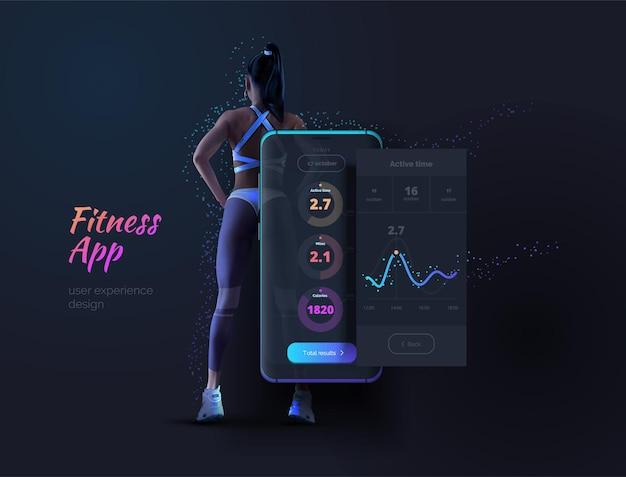 모바일 피트니스 앱 개발 스포츠 건강한 라이프스타일을 위한 앱 레이아웃이 있는 휴대 전화 다이어그램 통계 결과 벡터 일러스트가 있는 모바일 애플리케이션 레이아웃
