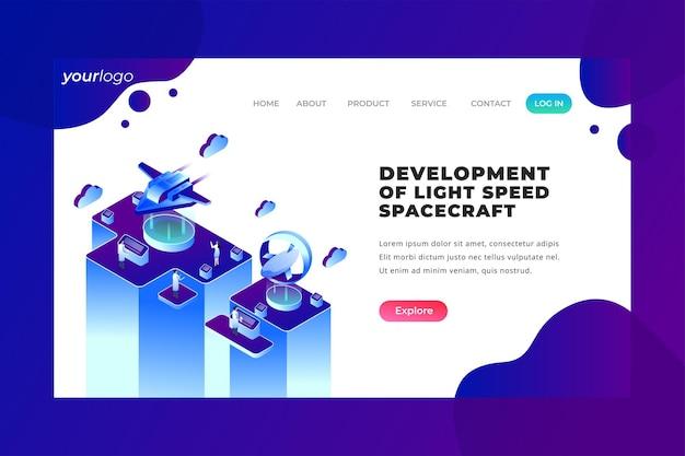 Разработка космического корабля со скоростью света - vector landing page
