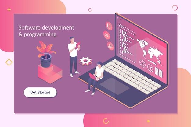 소프트웨어 및 프로그래밍 개념 개발. 프리미엄 벡터