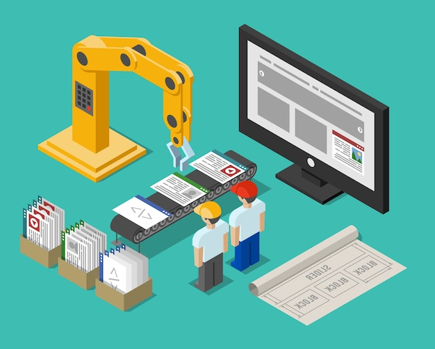 개발 프로세스 웹 사이트 인터페이스. 건설 및 크레인, 워크 플로 기능, 빌드 및 최적화 및 작업장, 벡터 일러스트 레이션