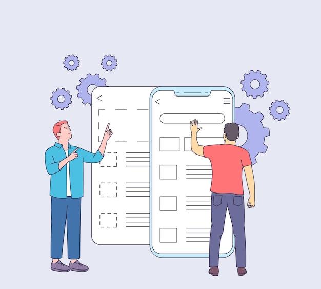 モバイルユーザーグラフィックux逆アセンブルインターフェイスコンセプトの開発、プロトタイピング、テスト。人々の人とモバイル画面のユーザビリティテスト。