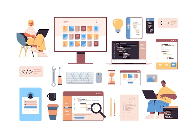 Development of software and programming icons set with mix race web developers using laptops creating program code