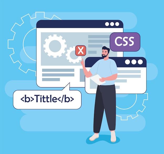 언어 및 템플릿 웹 페이지가있는 개발 소프트웨어