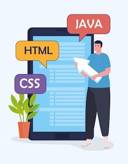 태블릿 및 언어 문자가있는 개발 소프트웨어