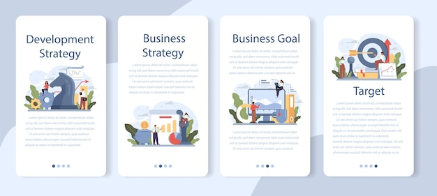 Development strategy mobile application banner set. business planning. idea of company promotion and profit growing. management and marketing development. isolated flat illustration