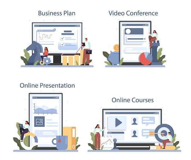 개발 전략 온라인 서비스 또는 플랫폼 세트. 사업 계획. 회사 홍보 아이디어. 온라인 과정, 프레젠테이션, 화상 회의, 사업 계획. 격리 된 평면 그림