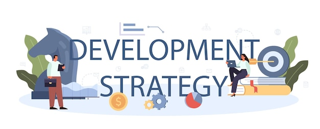 개발 전략 인쇄 문구. 사업 계획. 회사 홍보 및 이익 성장에 대한 아이디어. 관리 및 마케팅 개발. 격리 된 평면 그림