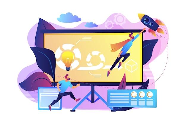 Член команды разработчиков и мастер схватки, работающий над agile-проектом для владельцев продукта и заинтересованных сторон. концепция управления гибкими проектами. яркие яркие фиолетовые изолированные иллюстрации