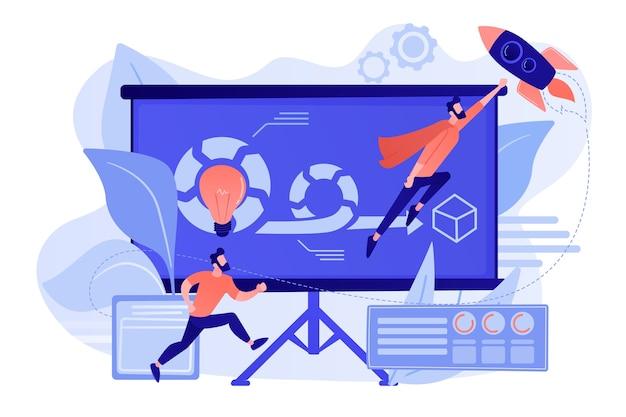 製品の所有者と利害関係者のためにアジャイルプロジェクトに取り組んでいる開発チームメンバーとスクラムマスター。アジャイルプロジェクト管理の概念