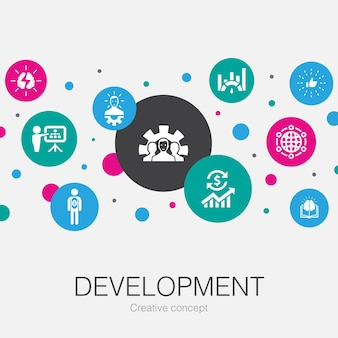 Development trendy circle template with simple icons. contains such elements as global solution, knowledge, investor, brainstorming