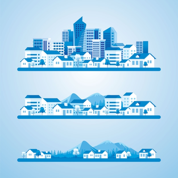 The development of a village into a city  illustration