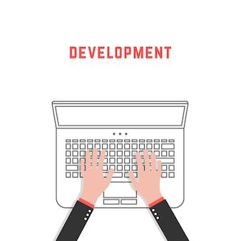 Разработка с тонкой линией ноутбука и рук. концепция рутины фрилансера, стиль жизни, аналитика, продвижение, поисковая оптимизация, дизайнер, разработчик. плоский стиль тенденции дизайна векторные иллюстрации на белом фоне