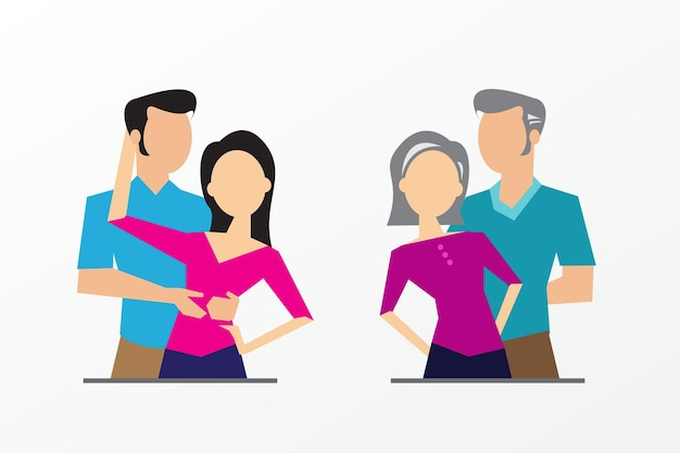 Developmental stages of the family generation vector illustration