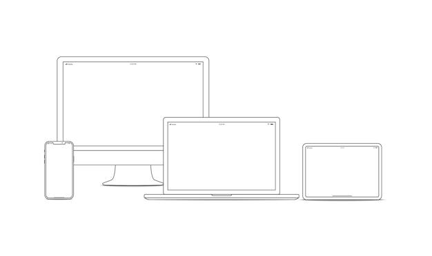 Набор штриховых рисунков устройства и гаджета. ноутбук, смартфон, современные портативные и компактные персональные компьютеры для работы дома и в офисе. векторная иллюстрация искусства линии устройства