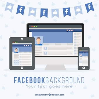 Device background with facebook web