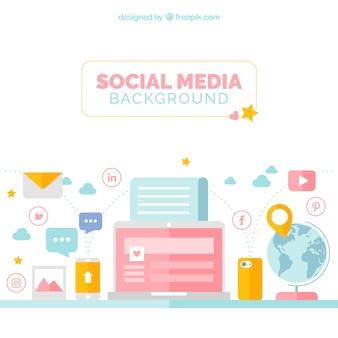 Sfondo dispositivo con elementi di social networking