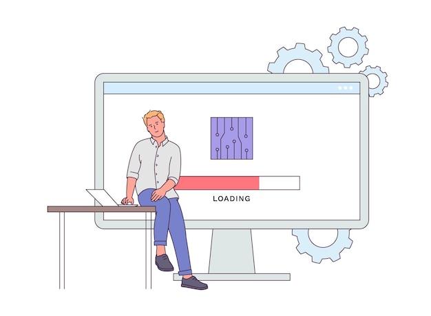 デバイスのファームウェアとソフトウェアの概念。デバイスを更新しようとしている若い男。人間のファームウェアデバイスエンジニアリング。