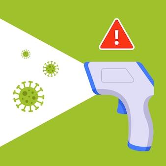 コロナウイルスを検出するためのデバイス。ウイルス対策。フラットの図。