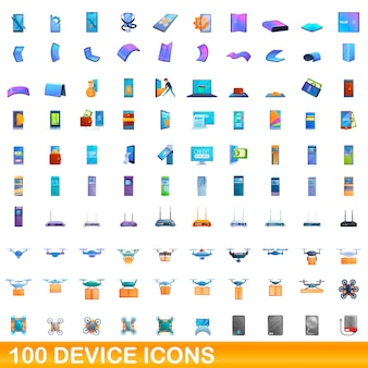 Device icons set, cartoon style