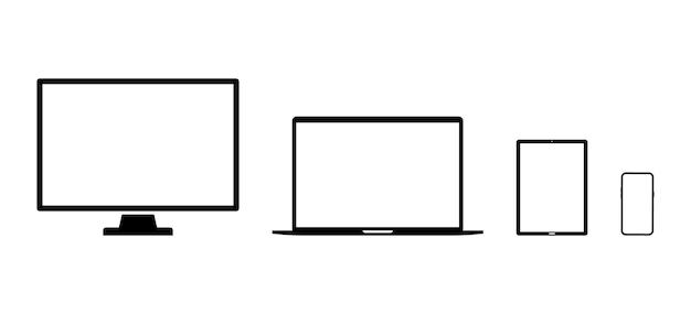 장치 아이콘. 스마트폰, 태블릿, 노트북, 데스크톱 컴퓨터. 장치 아이콘의 집합입니다. 전자 기기, 벡터 일러스트 레이 션