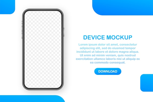 장치 모형 배너. 스마트 폰 ui ux 디자인 인터페이스. 미디어 판매 촉진을위한 빈 화면입니다.