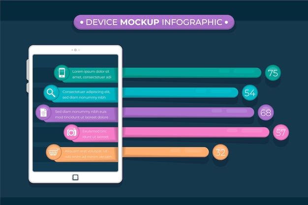 Device mockup infographic in flat design