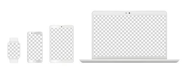デバイスのモックアップ。リアルな白いノートパソコン、スマートフォンのテーブル、スマート時計。透明な画面のベクトル図と分離されたガジェット。ラップトップコンピューターモニター、モックアップノートブックおよびスクリーンフォン