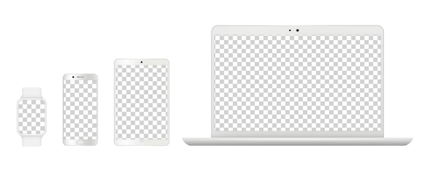 Device mockups. realistic white laptop, smartphone tables and smart clock. isolated gadgets with transparent screens vector illustration. laptop computer monitor, mockup notebook and screen phone