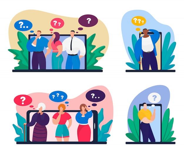 Устройство онлайн вопрос, иллюстрация. мужчина женщина персонаж цифровой связи в интернете. люди мультфильм человек