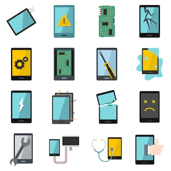 Device repair symbols icons set in flat style