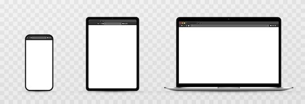 透明な背景のデバイス画面のモックアップ