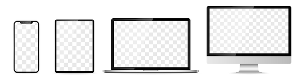 デバイス画面セット-ラップトップスマートフォンタブレットコンピューターモニター。ベクトルイラスト