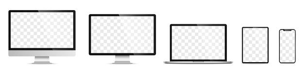 Набор экрана устройства - ноутбук, смартфон, планшетный компьютер, монитор. векторная иллюстрация