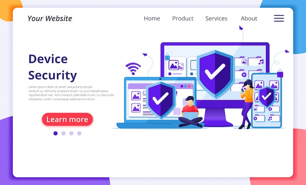 Device security concept, people on giant gadget device with shield. website landing page  template