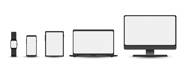 Набор устройств - рабочий стол, ноутбук, планшет, телефон и шаблон smartwatch. электронные гаджеты, изолированные на белом фоне. реалистичная иллюстрация.
